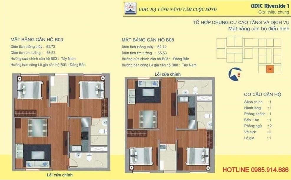 Căn 2 phòng ngủ diện tích nhỏ nhất chung cư 122 Vĩnh Tuy - Udic Riverside 2