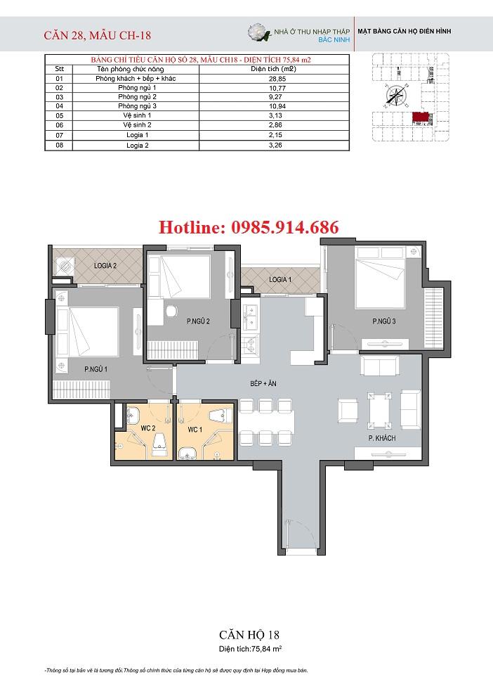 Mặt bằng điển hình căn hộ 3 phòng ngủ ở nhà xã hội thu nhập thấp HUDLAND Bắc Ninh