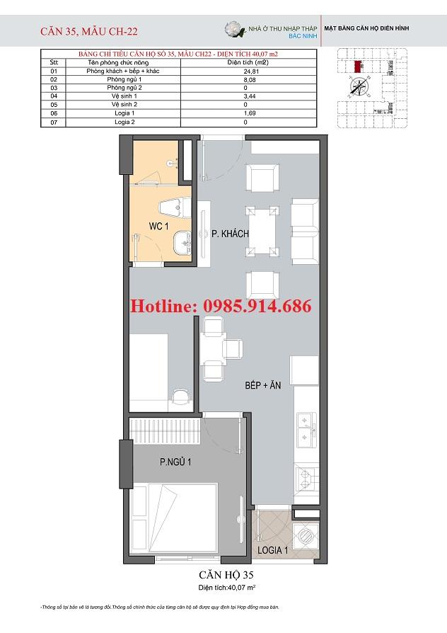 Mặt bằng điển hình căn hộ 1 phòng ngủ ở nhà xã hội thu nhập thấp HUDLAND Bắc Ninh
