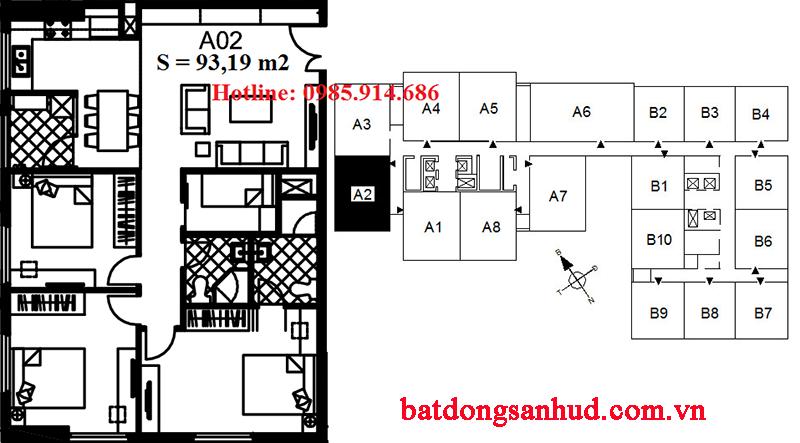 Bán suất ngoại giao căn A2 chung cư 122 Vĩnh Tuy - Udic Riverside 2