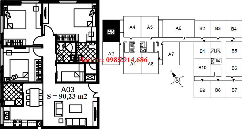 Căn 3 phòng ngủ chung cư 122 Vĩnh Tuy Udic Riverside View Sông Hồng 3