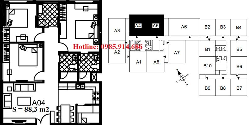 Chi tiết thiết kế căn hộ A4 chung cư 122 Vĩnh Tuy - Udic Riverside 2