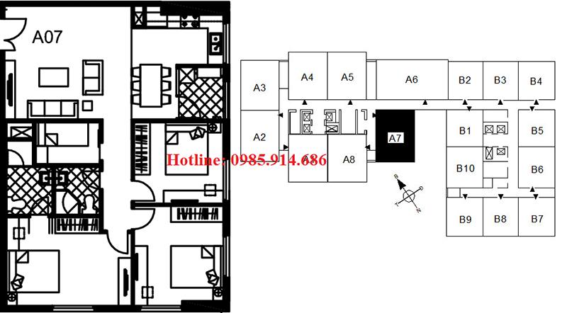Chi tiết thiết kế căn hộ A7 chung cư 122 Vĩnh Tuy - Udic Riverside 2