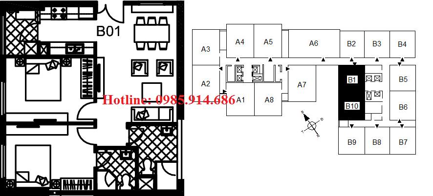 Bán suất ngoại giao căn B1 chung cư 122 Vĩnh Tuy - Udic riverside 2