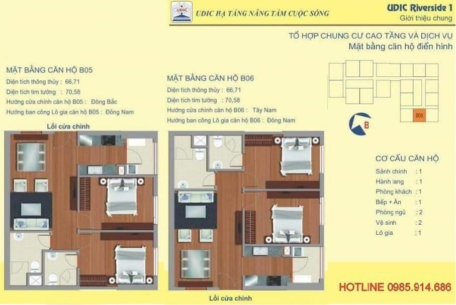 Căn 2 phòng ngủ diện tích lớn nhất chung cư 122 Vĩnh Tuy - Udic Riverside 2