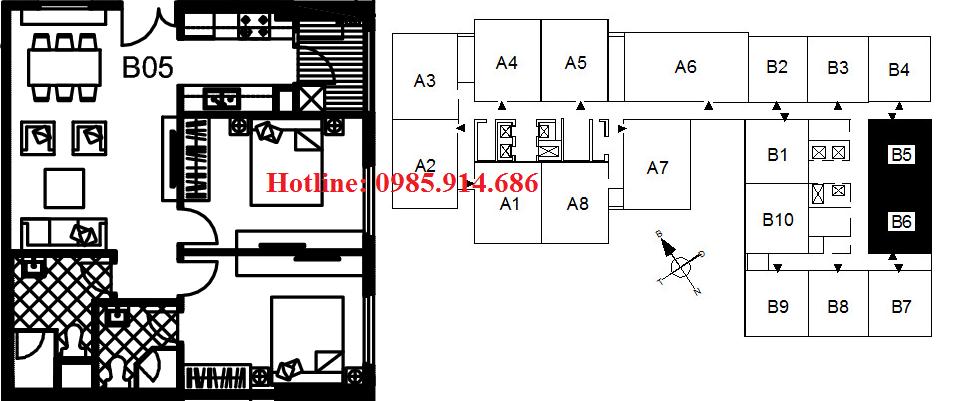 Chi tiết thiết kế căn hộ B5 chung cư 122 Vĩnh Tuy – Udic Riverside 1