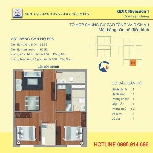 Bán căn hộ B8 chung cư 122 Vĩnh Tuy - Udic Riverside giá từ chủ đầu tư 2