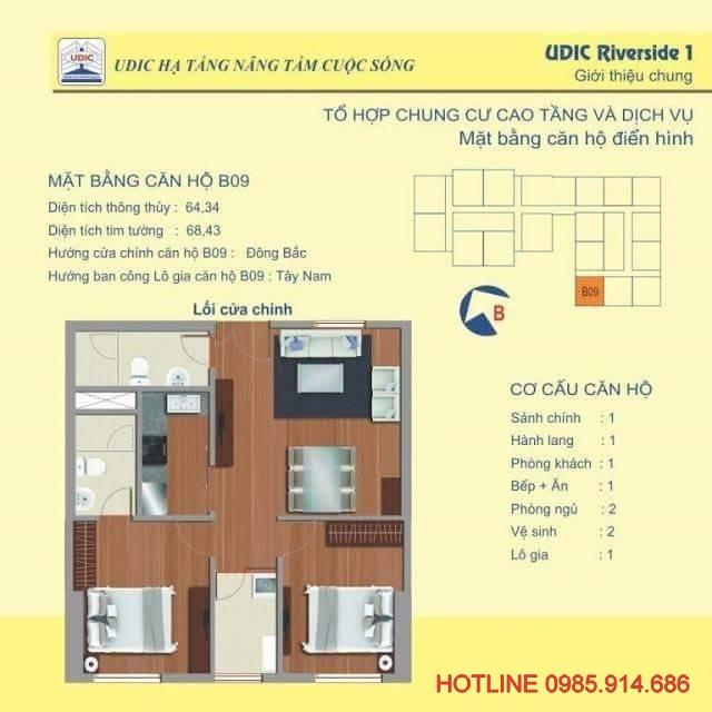 Bán suất ngoại giao căn B9 chung cư 122 Vĩnh Tuy - Udic Riverside 2