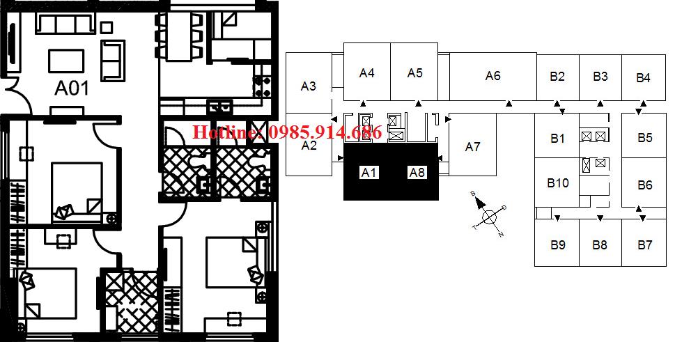 Căn 3 phòng ngủ diện tích nhỏ nhất chung cư 122 Vĩnh Tuy - Udic Riverside 2