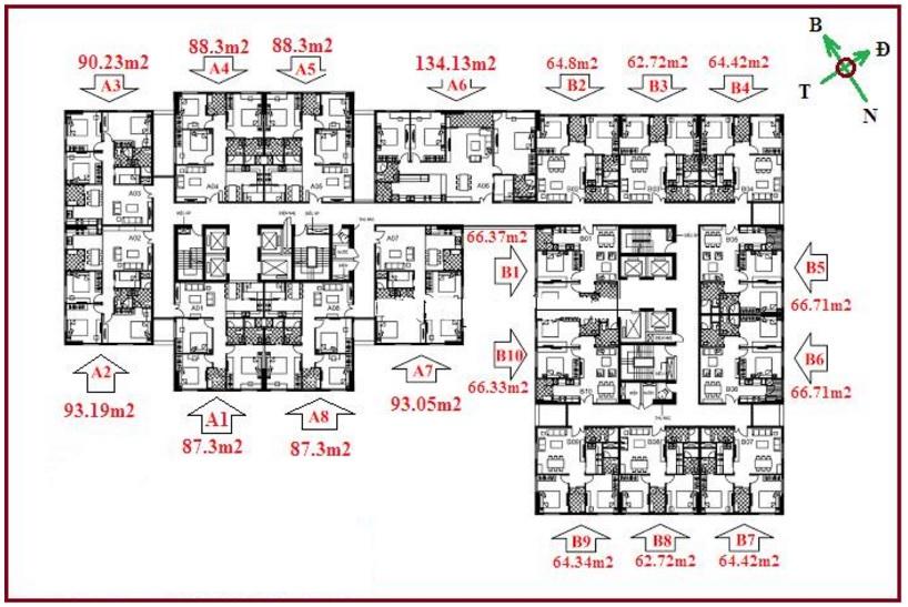 Căn hộ 3 phòng ngủ chung cư 122 Vĩnh tuy – Udic Riverside 1