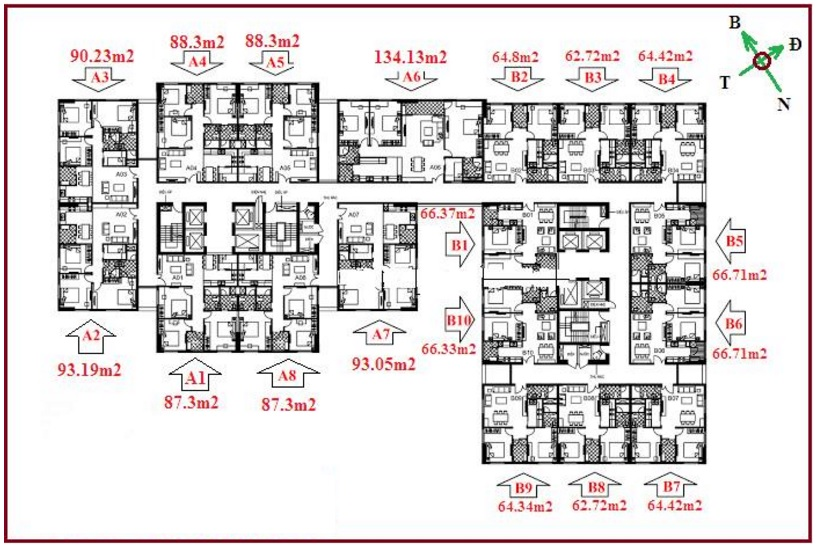 Căn 3 phòng ngủ diện tích lớn nhất chung cư 122 Vĩnh Tuy - Udic Riverside 1
