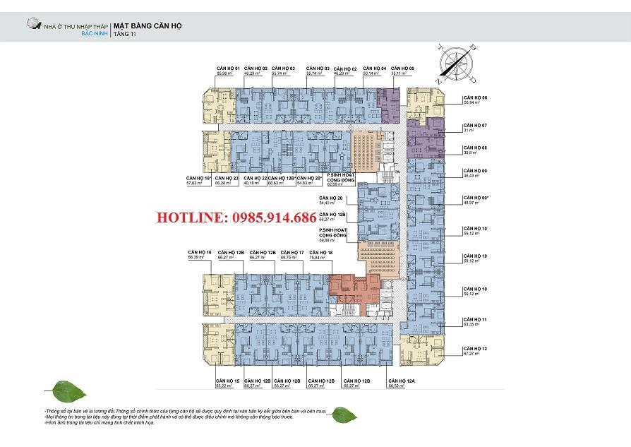 Mặt bằng điển hình căn hộ tầng 11 nhà ở thu nhập thấp HUDLAND Bắc Ninh