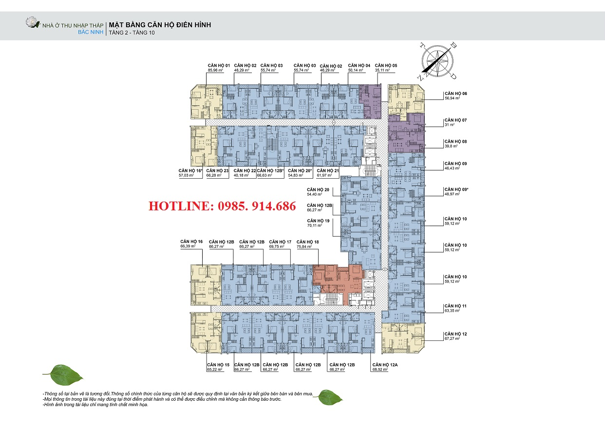 Mặt bằng điển hình căn hộ từ tầng 2 đến tầng 10 nhà ở thu nhập thấp HUDLAND Bắc Ninh