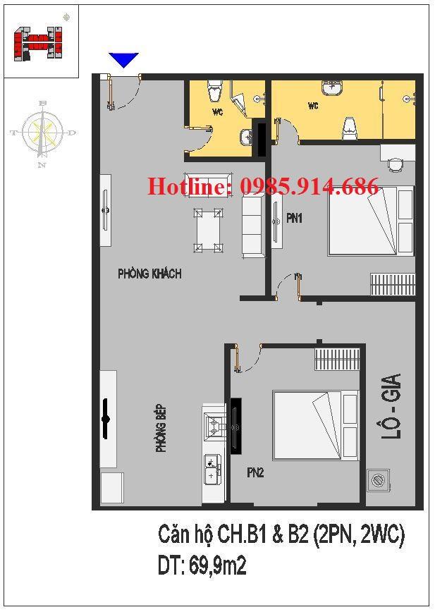 Căn 2 phòng ngủ chung cư Rice City Thượng Thanh
