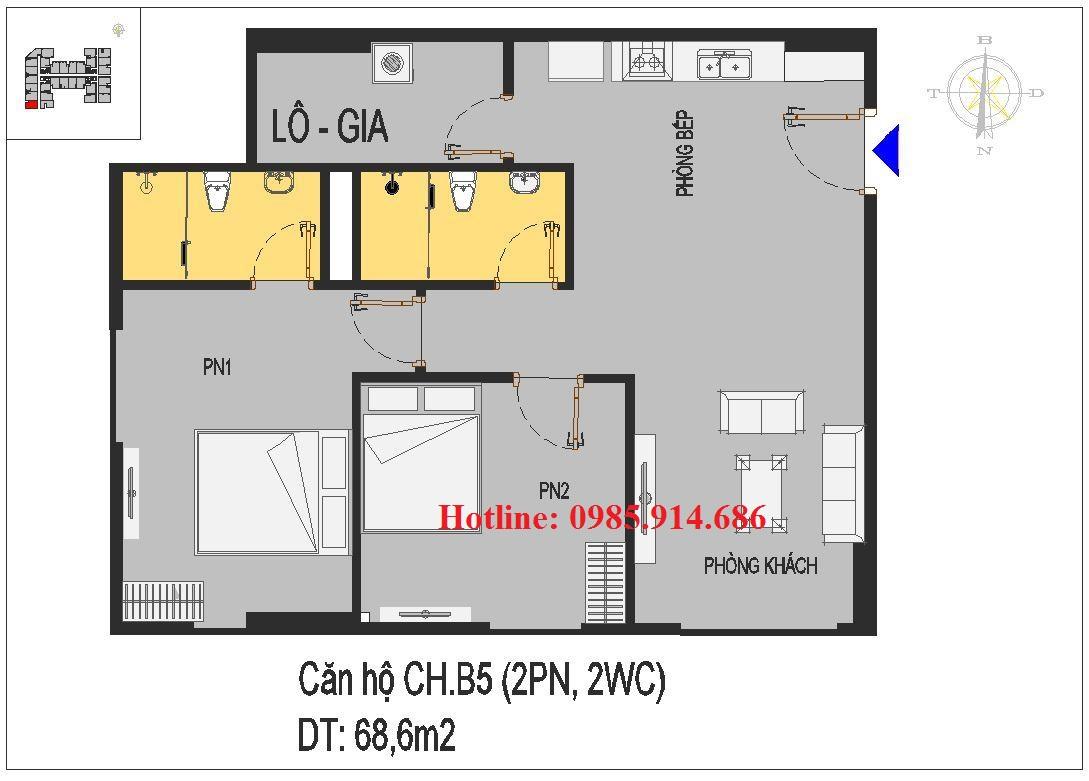 THIẾT KẾ MẪU CĂN HỘ CH.B5 NHÀ Ở XÃ HỘI RICE CITY THƯỢNG THANH 1