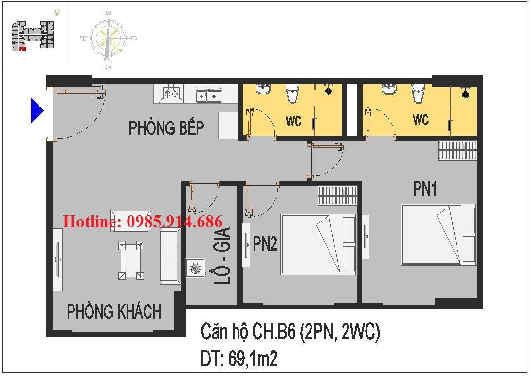 MẪU THIẾT KẾ CĂN HỘ CH.B6 CHUNG CƯ RICE CITY THƯỢNG THANH 1