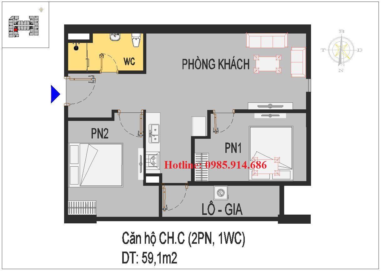 Thiết kế căn 2 phòng ngủ bé nhất chung cư Rice City Thượng Thanh